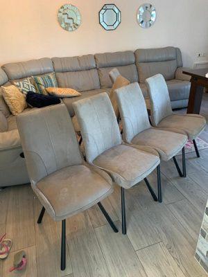 כסא פינת אוכל מרופד אפור 1025