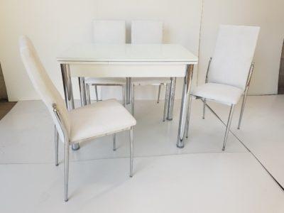 שולחן זכוכית נפתח כולל 4 כיסאות במגוון צבעים דגם 773