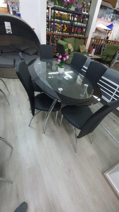 שולחן פינת אוכל מזכוכית כולל 6 כיסאות דגם 6655