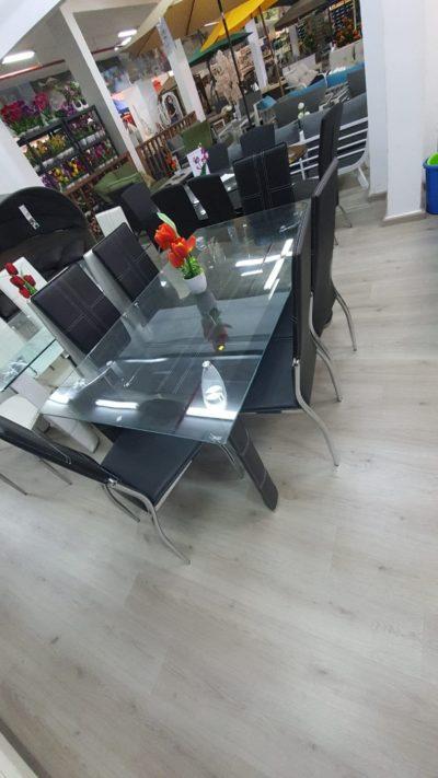 שולחן מרהיב מזכוכית כולל 6 כיסאות דגם 6645