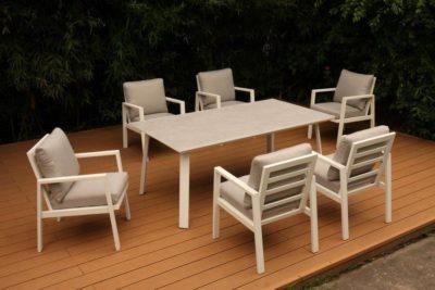 סט ישיבה אלומיניום לבן שולחן 180 +6 כסאות דגם 7748