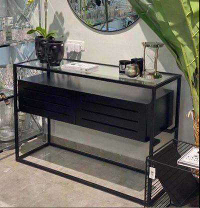 קונסולה מעץ בצבע שחור בשילוב זכוכית דגם 7746