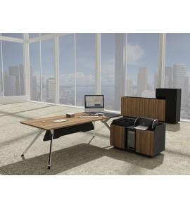 19378 שולחן מנהל פורניר אגוז משולב צביעת אבקה צבע לבן רגליים אלומיניום, מידות: 200*100*76