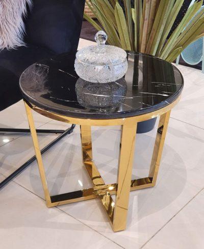 שולחן נירוסטה פלטת שיש שחור דגם 6747
