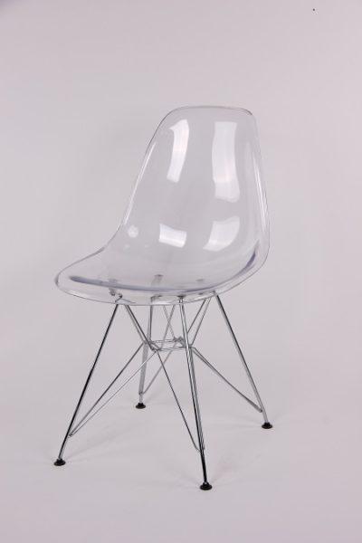 כיסא שקוף רגלי מתכת לפינת אוכל 8173