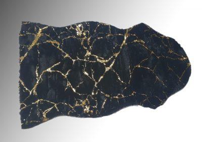 שטיח פרווה שחור עיטורי שיש זהב 862