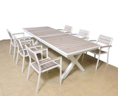 סט ריהוט גן אלומיניום נפתח עם שש כיסאות דגם 8848