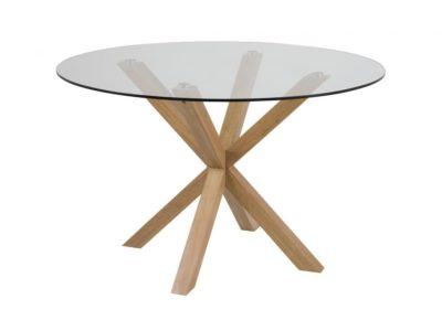 שולחן זכוכית עגול עם רגלי עץ דגם 6628