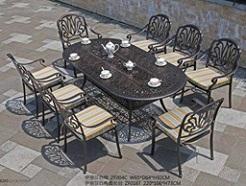 סט ישיבה שולחן 2.2+ 8 כסאות מאלומיניום יצוק דגם 6647