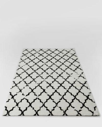 שטיח  לסלון סופיה שחור לבן 200X300 מיקרופייבר