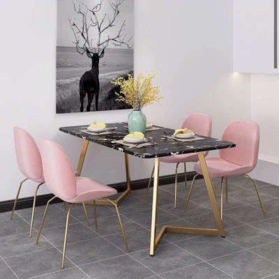 שולחן פינת אוכל משטח עליון שיש שחור 80*160 מ'