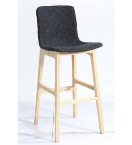 כסא בר גובה 65 רגלי עץ מושב דמוי עור 875